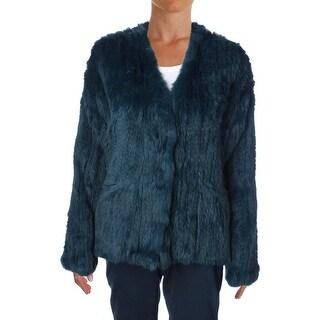 Elizabeth and James Womens Rabbit Fur Collarless Jacket