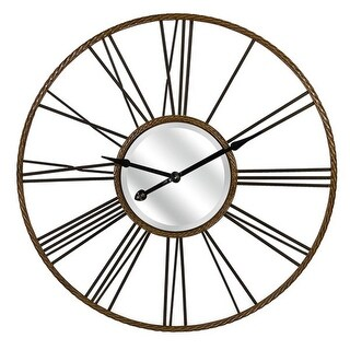 42 Metallic Copper and Black Antiqued Iron Decorative Wall Clock