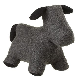 Set of 2 Gray with Black Ears Felt Puppy Dog Door Stoppers 10.5