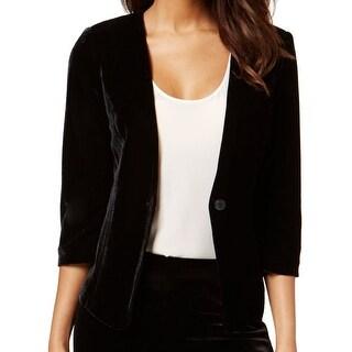 Kensie NEW Black Velvet One-Button Women's Small S Collarless Jacket