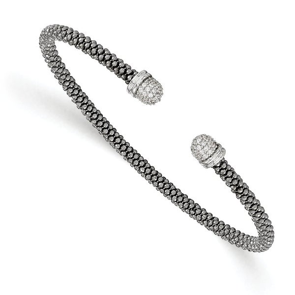 Italian Sterling Silver Ruthenium-plated CZ Cuff Bangle