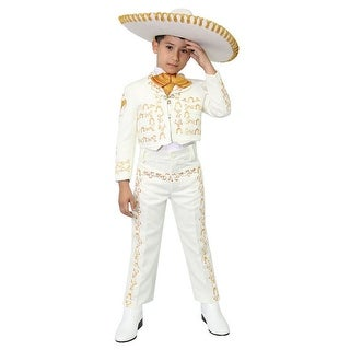 Little Boys Ivory Gold Embroidered Mariachi Pants Jacket Hat Set