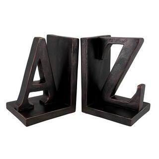 Pair of Distressed Bronze Finish `A to Z` Bookends