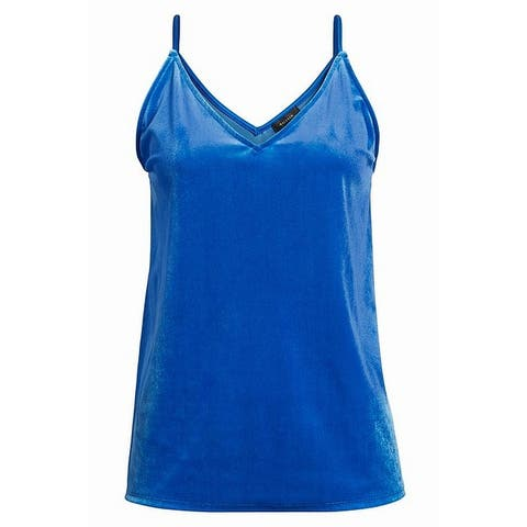 Halogen Women's Blue Victoria Size XXS Velvet Knit V-Neck Tank Cami Top