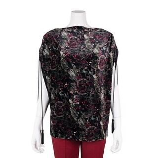 Roberto Cavalli Women Black Floral Printed Velvet Tassled Blouse