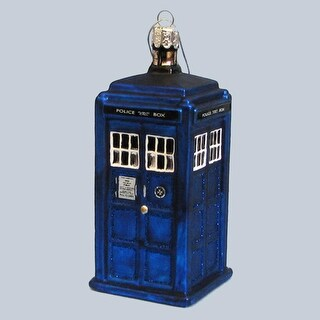 """Pack of 6 Glass Doctor Who Blue Tardis Police Call Box Christmas Ornaments 4.25"""""""