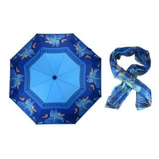 Laurel Burch `Indigo Cats` Sequined Silk Scarf and Matching Umbrella
