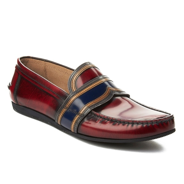 Prada Men's Leather Penny Loafer Shoes Maroon