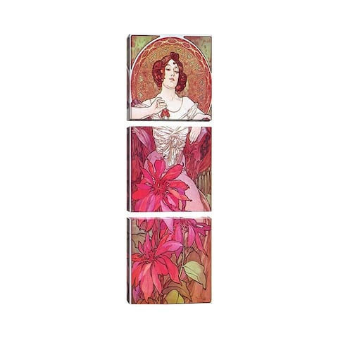 "iCanvas ""Ruby, 1900"" by Alphonse Mucha 3-Piece Canvas Wall Art Set"