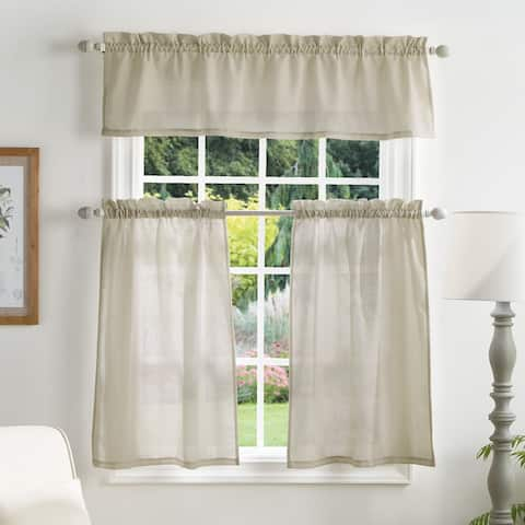 Martha Stewart Bedford Woven Plaid 3-pc Curtain Tier and Valance Set