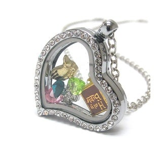 Heart Charm Locket with a Christian Bible