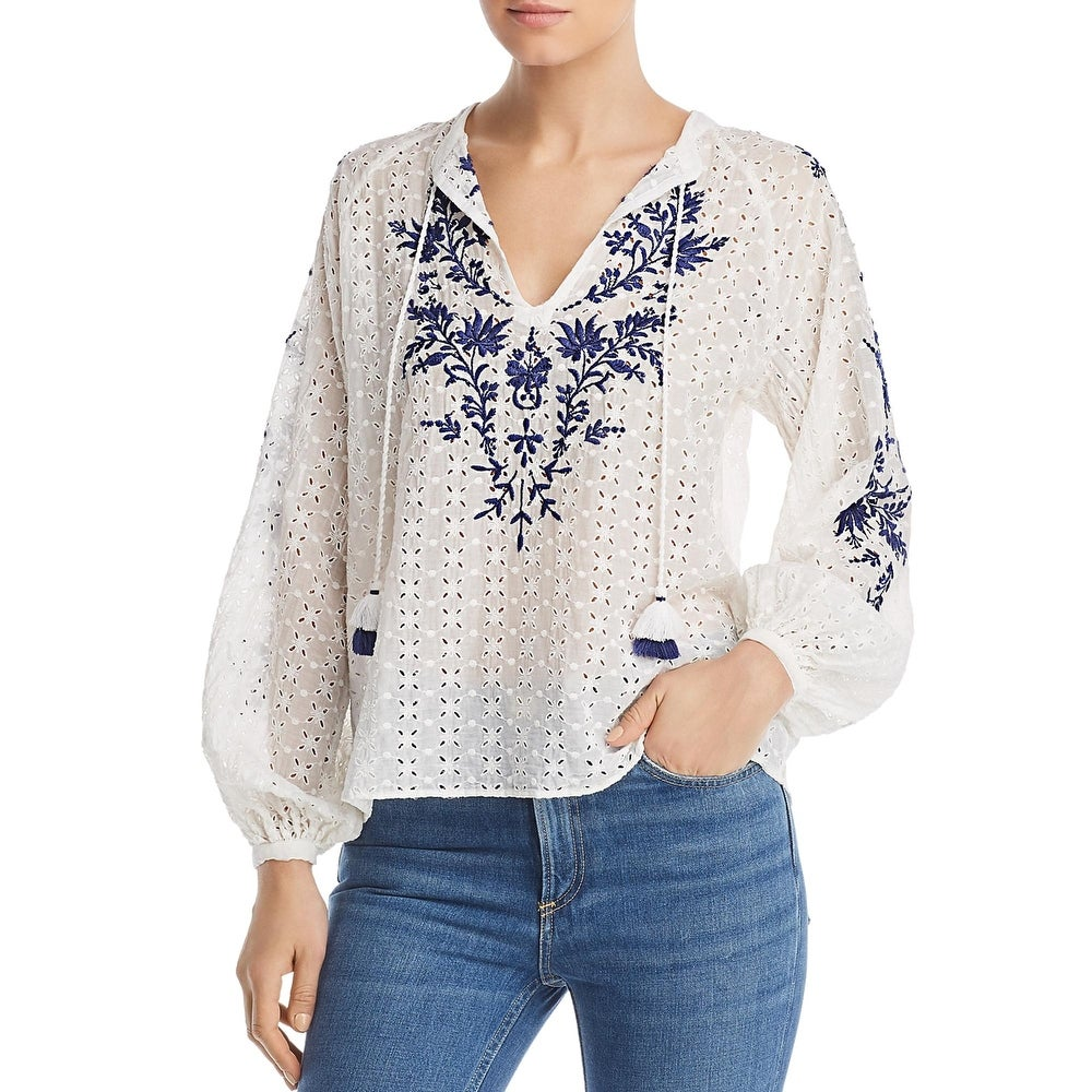 Johnny Was Womens Ramona Peasant Top Embroidered Eyelet - Antique White