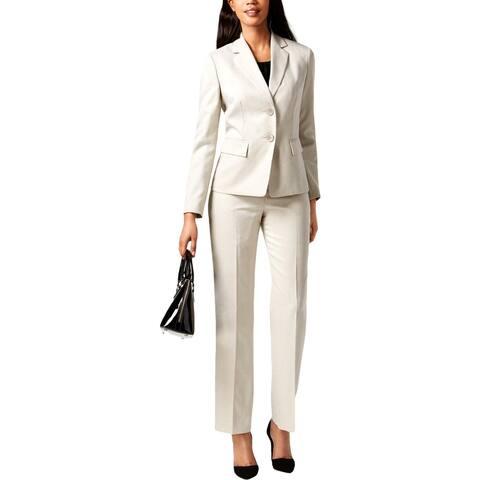 Le Suit Womens Petites Pant Suit Herringbone Pinstripe