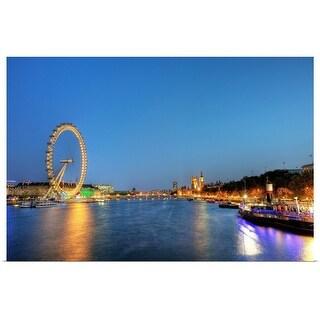 """London Eye and Big Ben at night."" Poster Print"