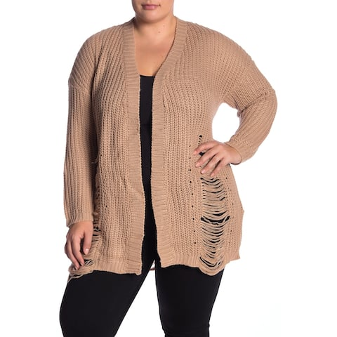 Planet Gold Women's Beige Size 2X Plus Distressed Knit Cardigan Sweater