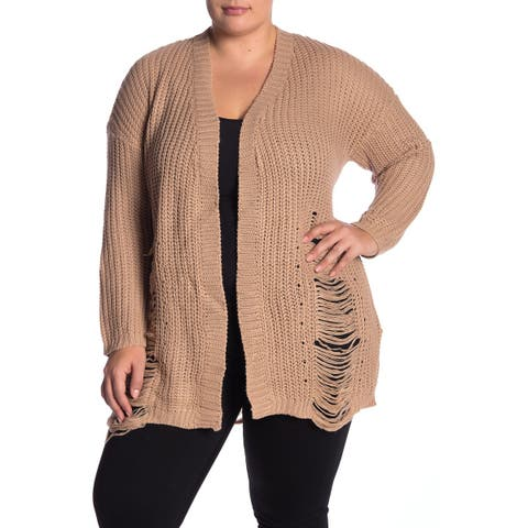 Planet Gold Women's Brown Size 1X Plus Distressed Knit Cardigan Sweater
