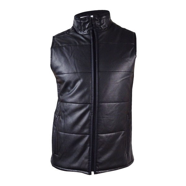 Calvin Klein Men's Faux-Leather Quilted Vest (M, Black) - Black ... : leather quilted vest - Adamdwight.com