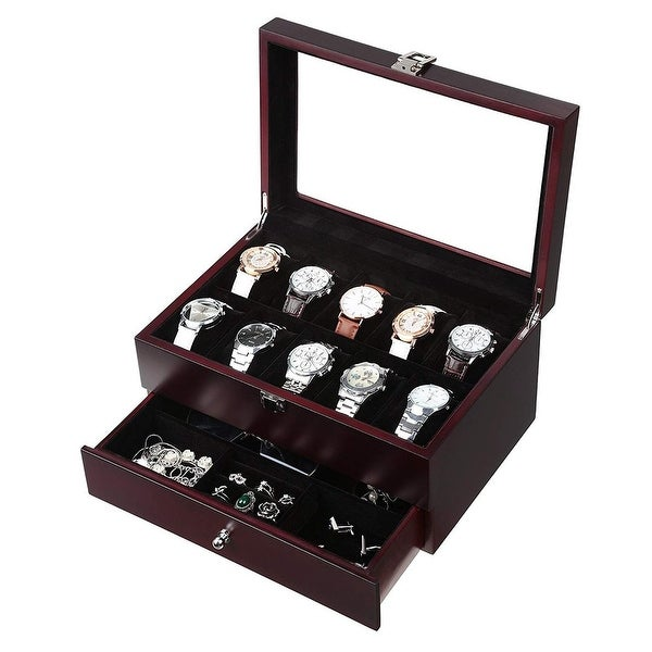 Wooden Watch Box 10 Slots 4 multi-functional parts Jewelry Organizer Storage Case. Opens flyout.