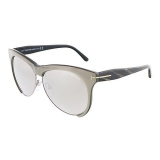 Tom Ford FT0365/S 38G LEONA Grey /Silver Clubmaster sunglasses - 59-12-140
