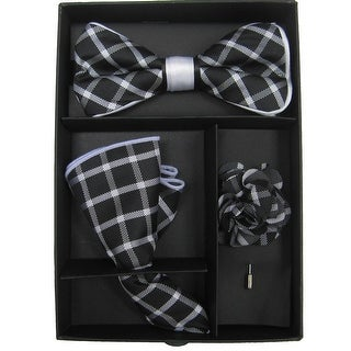 Men's Black & White Plaid Bow Tie with matching Hanky and Lapel Flower - One size