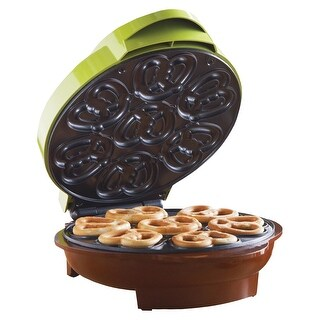 Brentwood Mini Pretzel Maker - Non-Stick Electric Kitchen Appliance - Green - 9.75 in. x 8.75 in. x 4.5 in.