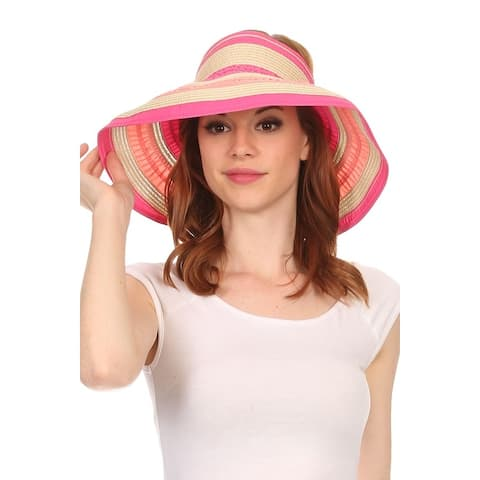 Wide Striped Roll Up Packable Hat