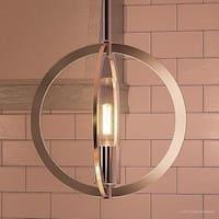 "Luxury Globe Pendant, 9""H x 9""W, with Old World Style, Orbital Sphere Design,Brushed Nickel Finish"