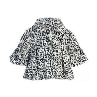 Little Girls Gray Leopard Pattern Faux Fur Winter Swing Coat 2-6