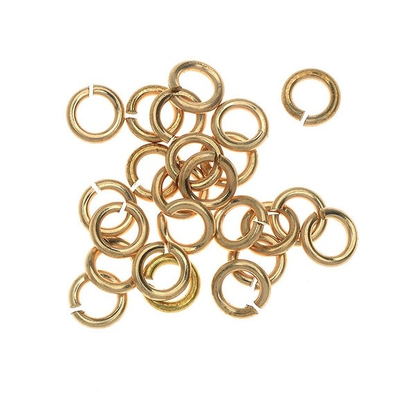 Vintaj Vogue Open Jump Rings, Smooth 5mm & 18 Gauge, 24 Pieces, Raw Brass