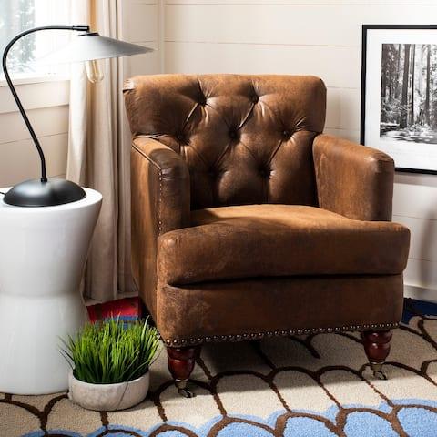 """Safavieh Manchester Antiqued Brown Tufted Club Chair - 28"""" x 34.4"""" x 32.7"""""""