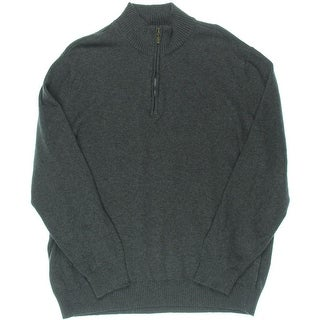 John Ashford Mens Ribbed Trim Cotton 1/2 Zip Sweater