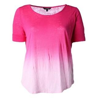 Lauren Ralph Lauren Womens Plus Pullover Top Ombre Linen