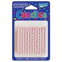 """Club Pack of 576 Eco-Friendly Pink and White Candy Stripe Spiral Decorative Birthday Party Candles 2.5"""""""