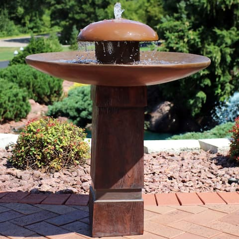 Sunnydaze Domed Shower Outdoor Birdbath Water Fountain With Led Rope Light