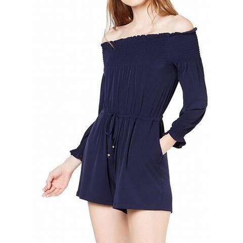 Michael Kors Womens Romper Navy Blue Size XL Off-Shoulder Smocked