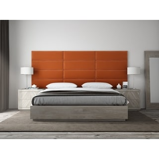 "VANT Upholstered Headboards - Accent Wall Panels - Packs Of 4 - PLUSH VELVET  Rust - 39"" Wide x 11.5"" Height"