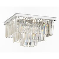 Retro Palladium Crystal Glass Fringe 3 Tier Flushmount Chandelier Flush Mount
