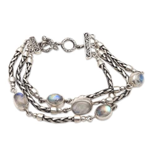 NOVICA Storm Within, Rainbow moonstone link bracelet