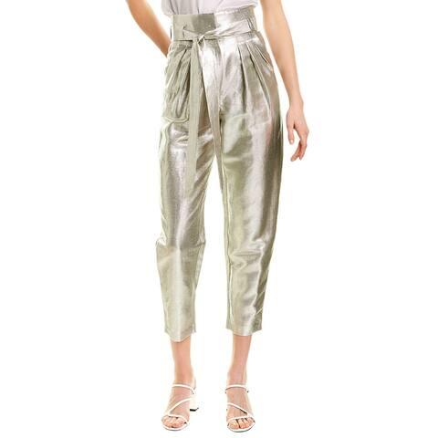 Iro Take Care Linen-Blend Straight Pant - Silver