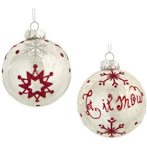 Kurt Adler 80MM Silver with Red Snowflake Glass Ball Ornaments, 6-Piece Set