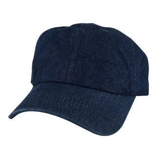 CapRobot 1163 Plain Low Unstructured Adjustable Strapback Dad Cap Hat - Navy Blue Denim - Dark Blue