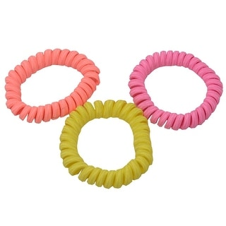 Knotties Girls Yellow Coral Pink Elastic Ponytail Holder 3 Pc Set