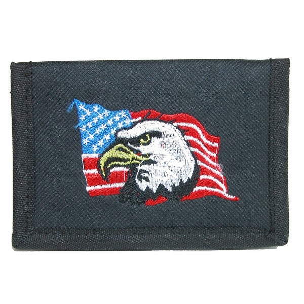 Parquet Men's Hook & Loop Trifold Wallet with American Flag & Eagle Embroidery - One size