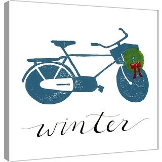 """PTM Images 9-101198  PTM Canvas Collection 12"""" x 12"""" - """"Winter Bike"""" Giclee Wreath Cruiser Art Print on Canvas"""