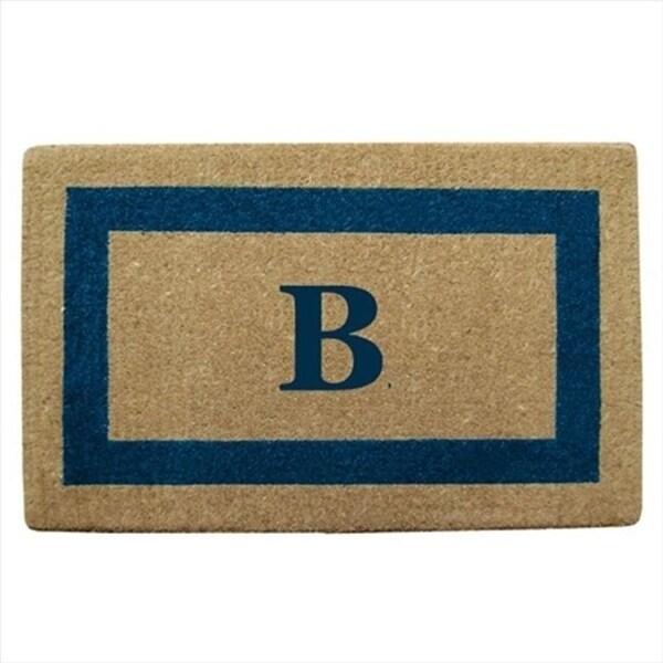 Nedia Home 02029B Single Picture - Blue Frame 22 x 36 In. Heavy Duty Coir Doormat - Monogrammed B