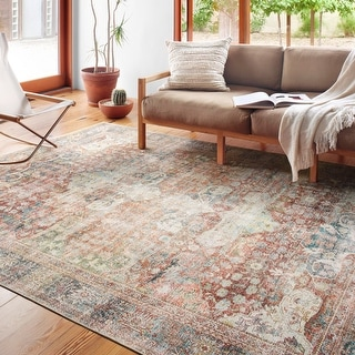 "Alexander Home Tremezzina Printed Shabby Chic Botanical Distressed Rug - 7'6"" x 9'6"""