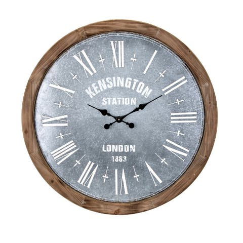 "30"" Metallic Gray and Wood Brown Clock with Galvanized Finish"