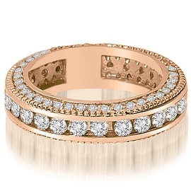 2.00 cttw. 14K Rose Gold Round Channel and Prong Diamond Eternity Ring