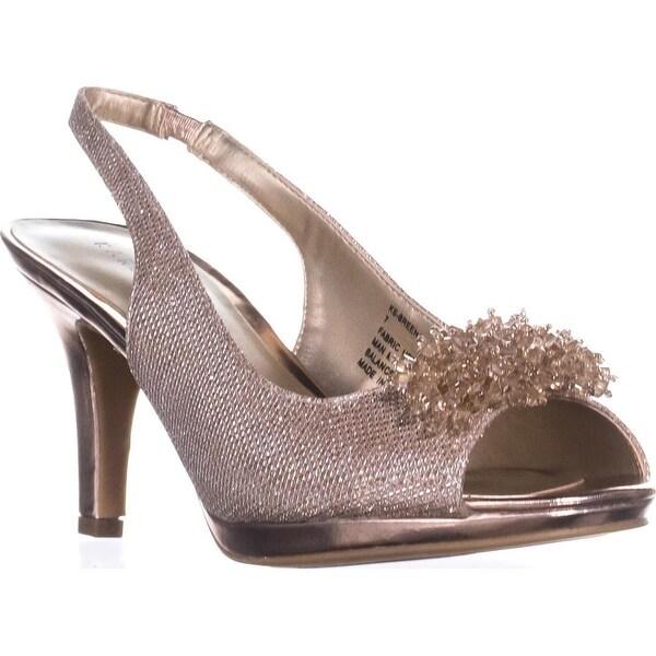 KS35 Breena Slingback Peep-Toe Pumps, Rose Gold