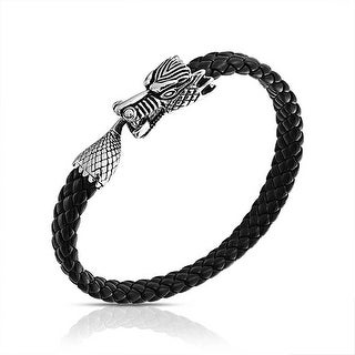 Bling Jewelry Mens Black Braided Leather Dragon Animal Cuff Bracelet Steel